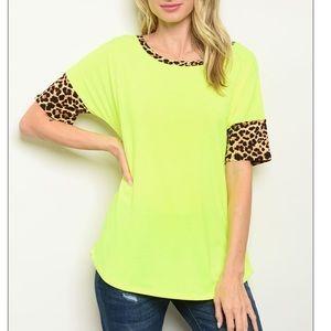 Neon short sleeve leopard print tunic tee, NEW!